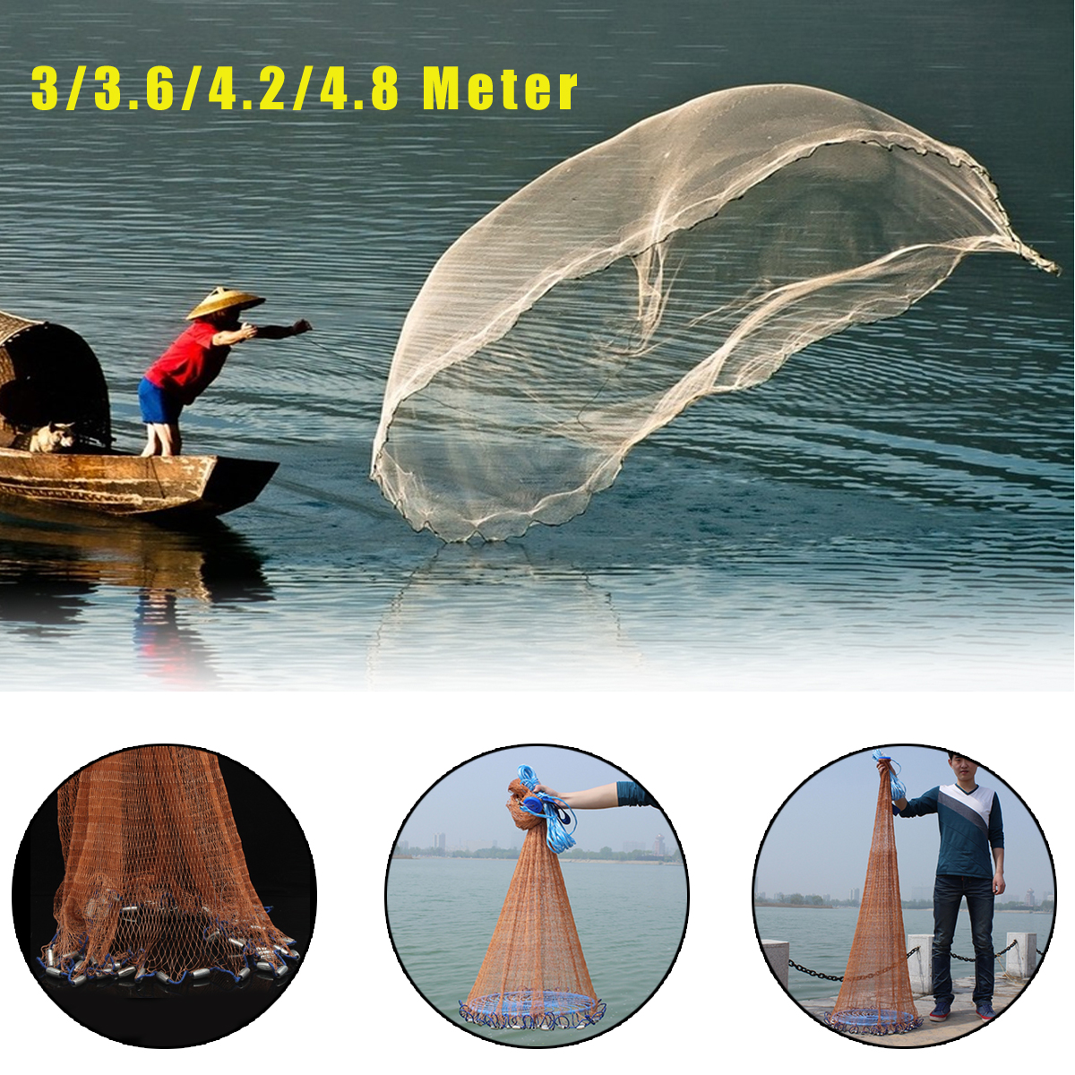 3-4.8m Netting Twine+Steel Hand Throw Cast Net American Style Brown Bait Fishing Network w/Sinker