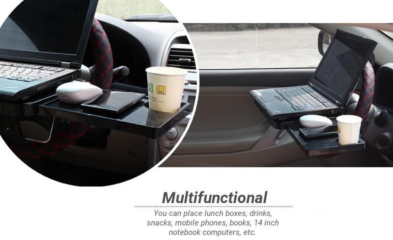 SHUNWEI Foldable Car Laptop Mount Steering Wheel Laptop Stand Food Drink Table Holder
