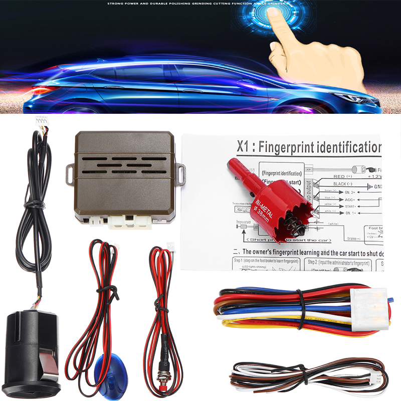 12V Car Alarm Fingerprint Start Security System Keyless Entry Push Button Kit