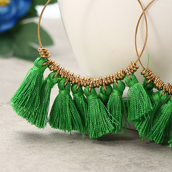 Bohemian Sector Shape Tassel Pendant Big Hoop Dangle Earring