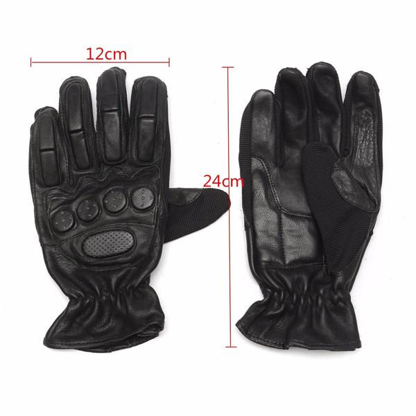 Leather Motor Bike Motorcycle Biker Full Finger Gloves Winter Protection