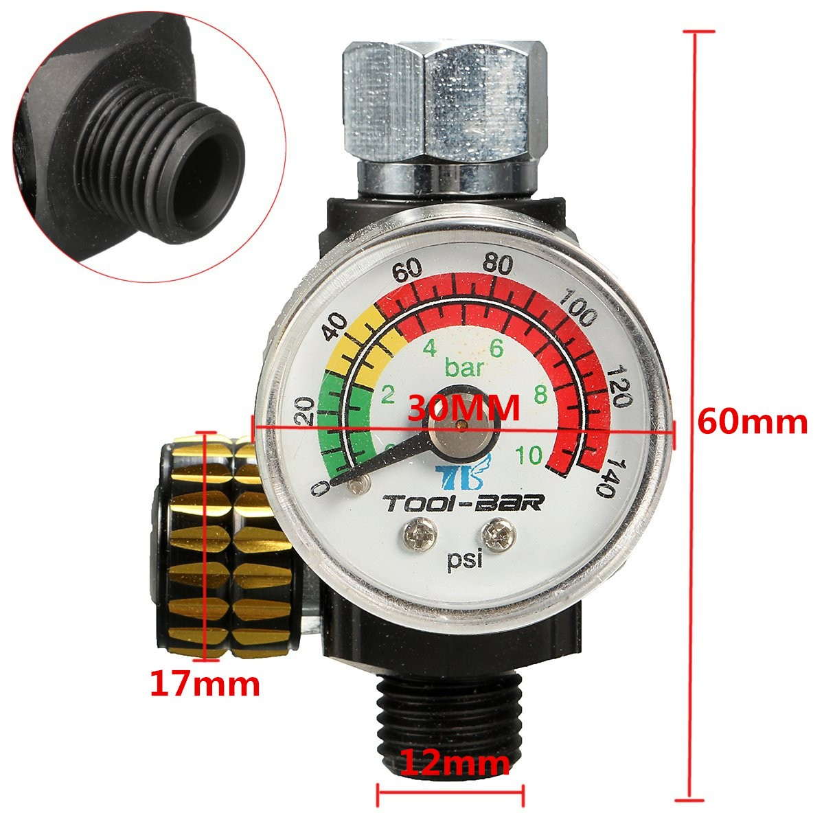 On Gun Air Pressure Regulator Gauge Spray Accessories AR01
