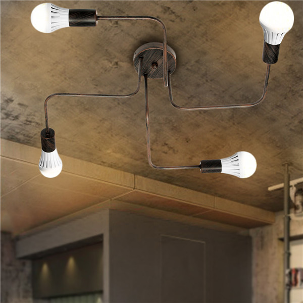 E27 4Heads Vintage Industrial Chandelier Pendant Light Metal Flush Mount Ceiling Lamp AC110-240V