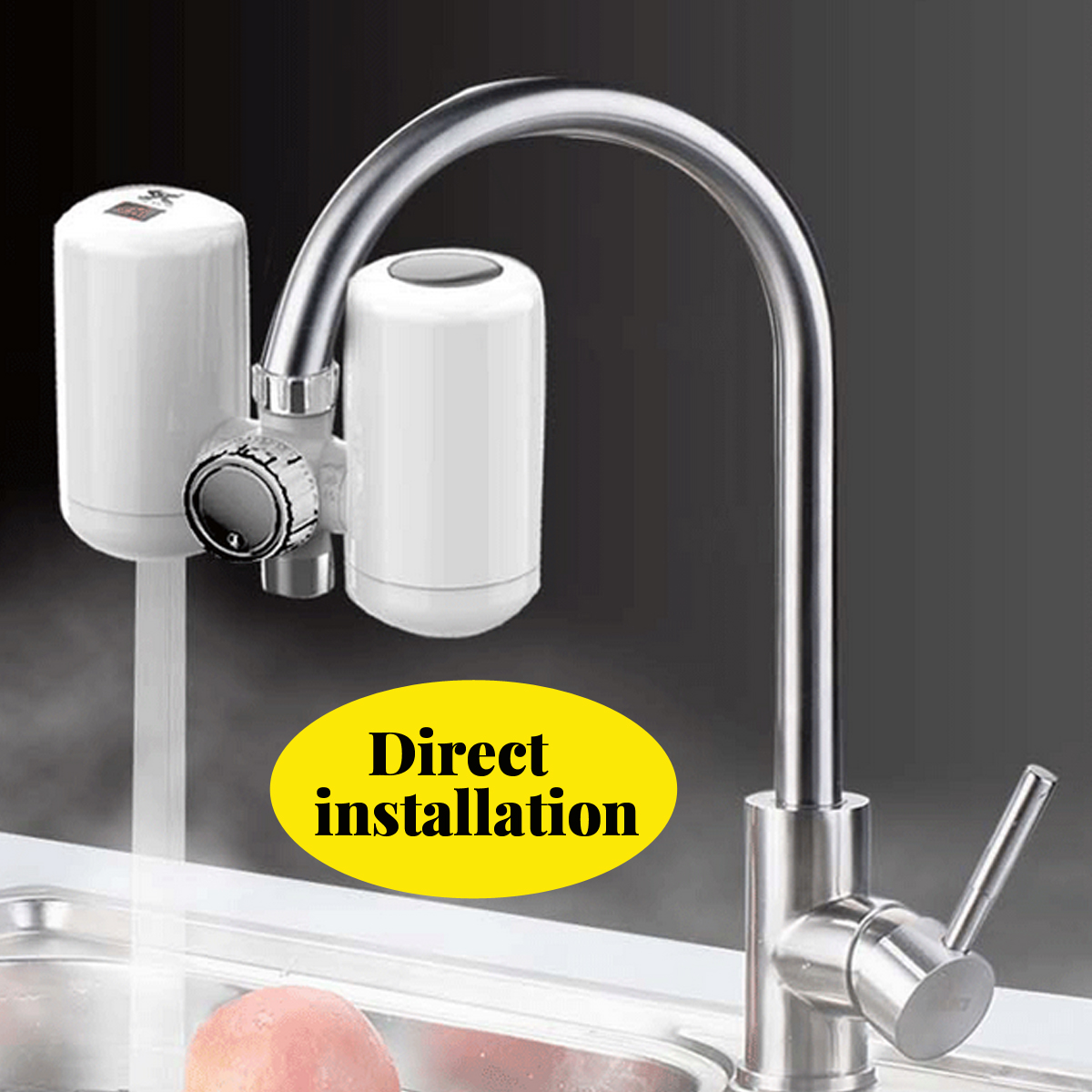3000W 220V Electric Instant Hot Water Heater Sink Faucet Kitchen Heating Tap Free Installation
