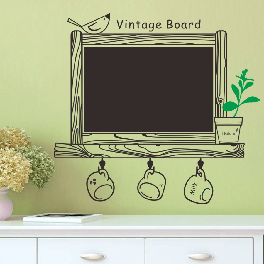 Removable Wall Sticker Kitchen ChalkBoard Sticker Decal Decor Blackboard Bird Sticker Decorations