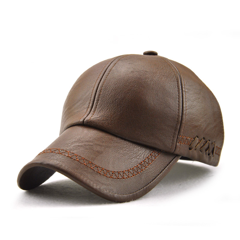 Men Artificial Leather Lace-up Adjustable Baseball Caps Outdoor Sport Warm Sunshade Hats