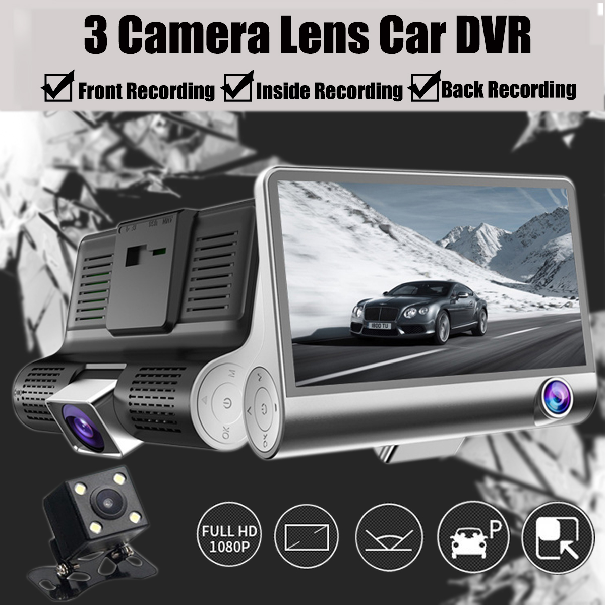 4.3inch 1080P IPS Screen Car DVR 3 Lens Dash Camera Recorder Rear View G-sensor