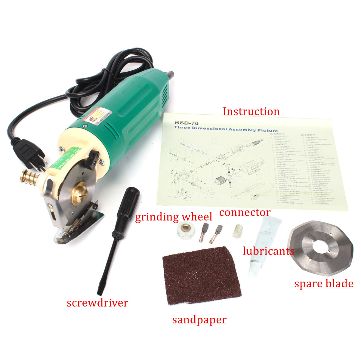 220V 70MM Rotary Blade Electric Fabric Cutter Round Knife Cloth Cutting Machine