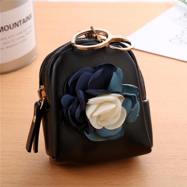Cute Fashion Purse PU Leather Zipper Mini Korean Flower Bag Key Coin Bag