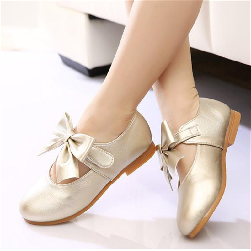 Girls Bowknot Pure Color Hook Loop Princess Dress Shoes Kids Soft Flats