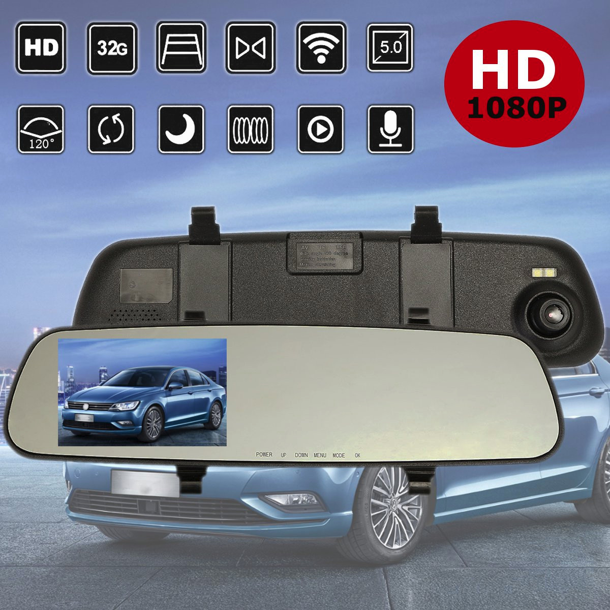 2.4 Inch Car DVR Rear View Mirror 1080P Android Front Rear Camera Recorder
