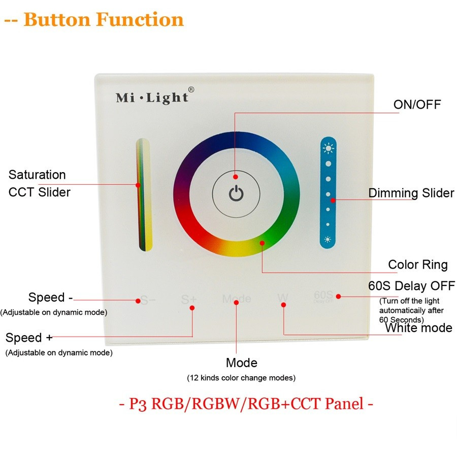 DC12-24V Mi Light P3 Smart Panel Touch Controller for RGB RGBW RGBCCT LED Strip Light