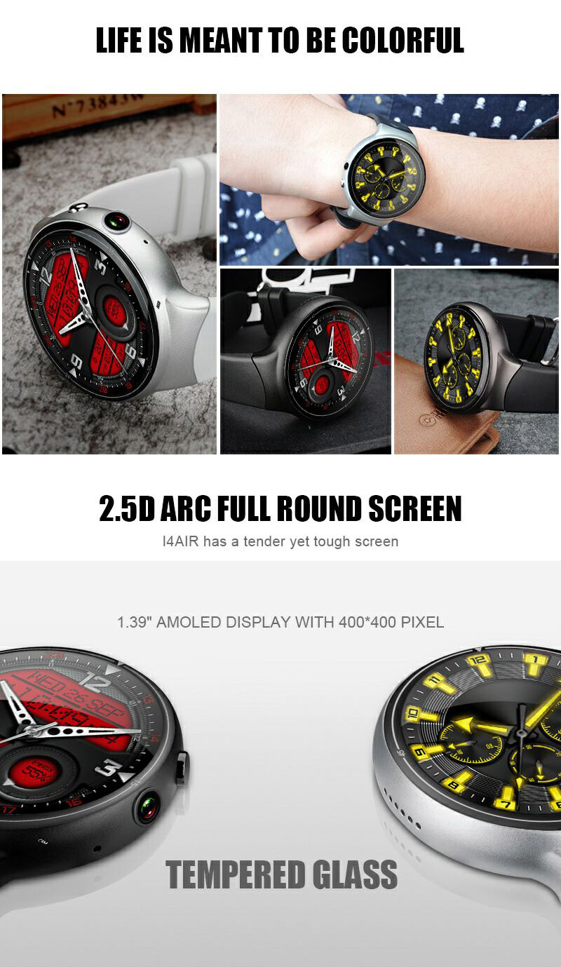 I4 AIR 2G+16G 2.0MP Camera WIFI GPS Smart Watch Phone