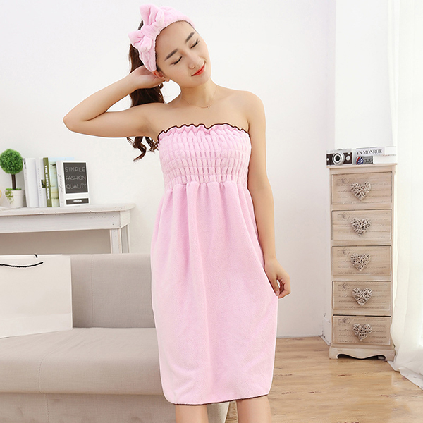 Soft Coral Velvet Strapless Bathrobe Nightdress