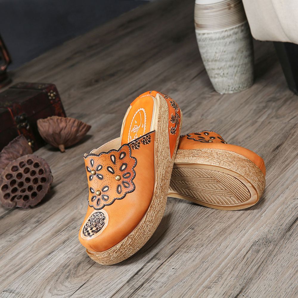 Retro Leather Wedge Comfortable Slippers
