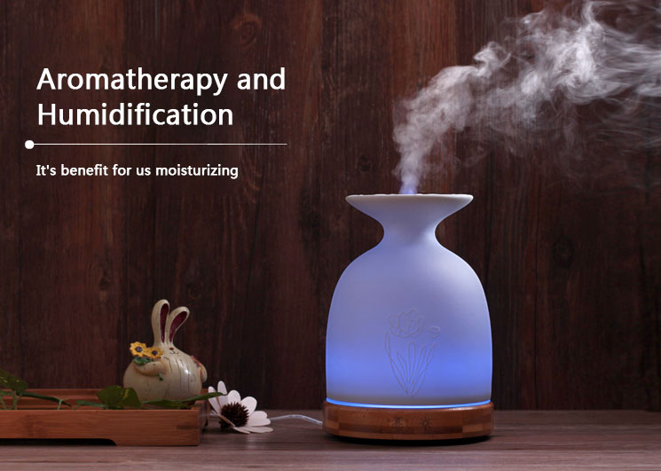 200ml Essential Oil Diffuser Aromatherapy Diffuser Ultrasonic Humidifier 7 LED Color Moon Light