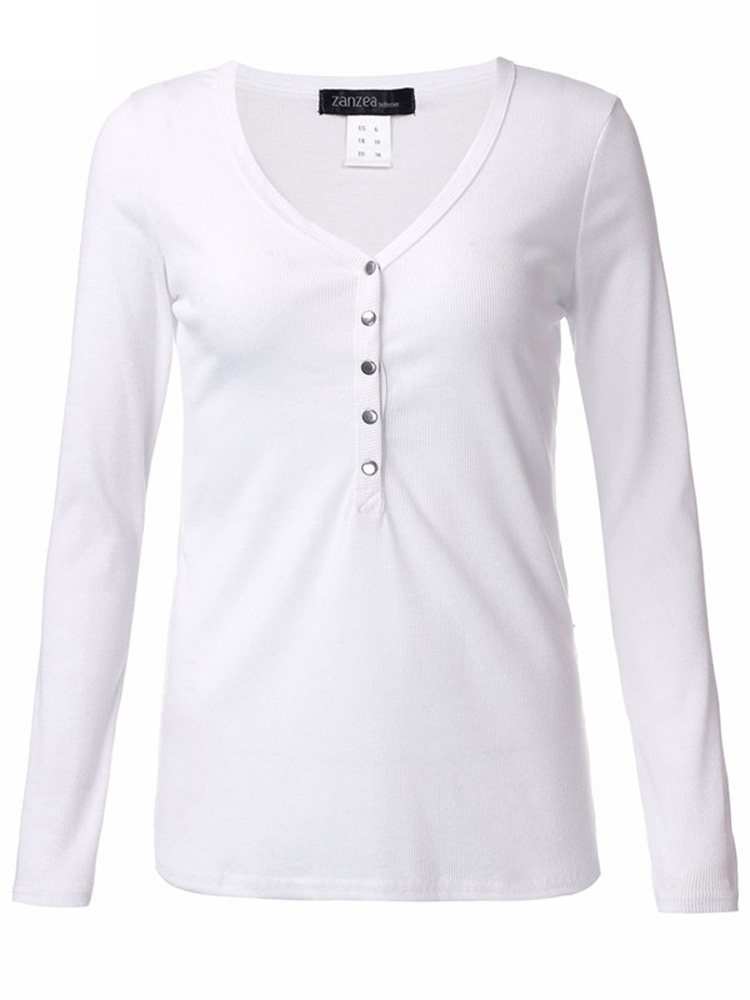 Women V --Neck Long Sleeve Knitted Slim Buttons T-Shirt