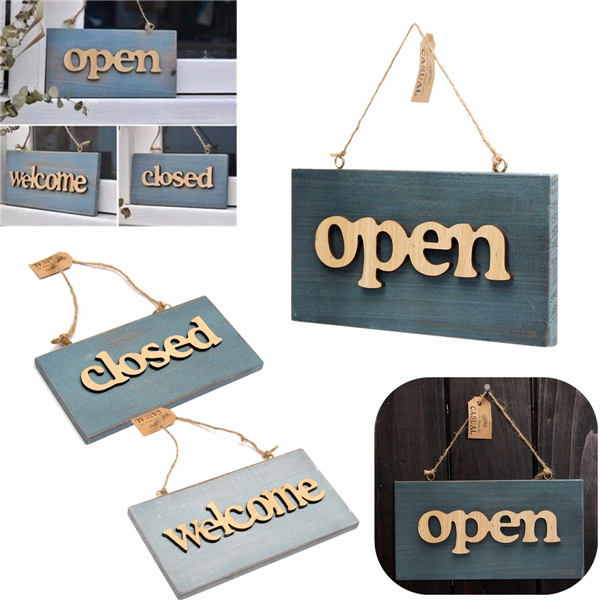 Vintage Wood Open Close Welcome Bar Cafe Shop Store Door Window Hanging Sign