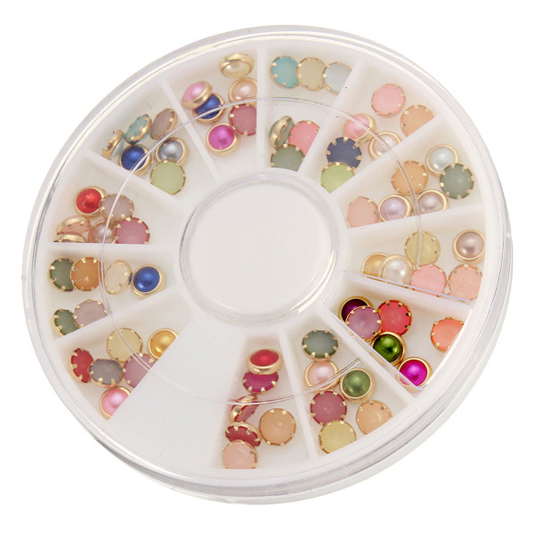Round Multi Colors Nail Art Decoration Beads Gems Wheel DIY Design Resin Cute