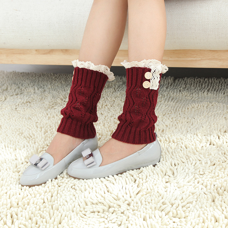 Women Girl Knitting Boots Short Stockings Lace Button Decorative Legs Protective Socks Hosiery