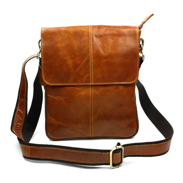 Men Business Casual Genuine Real Leather Retro Shoulder Crossbody Bag