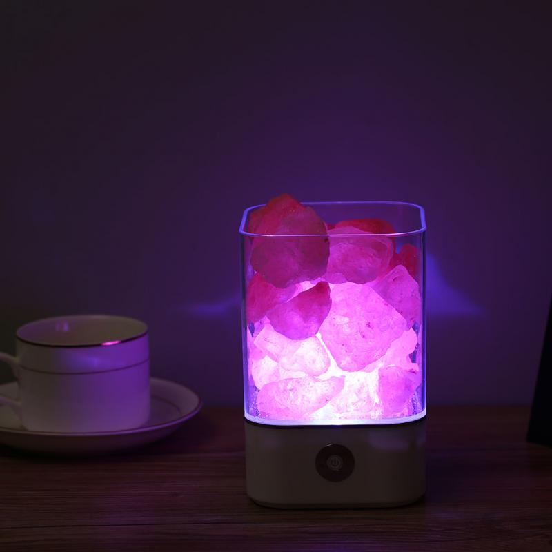 USB Power Supply Natural Himalayan Salt Lamp Unique Crystal Salts Night Light Home Bedroom Lighting Decor Crafts 7 Color Of Lights