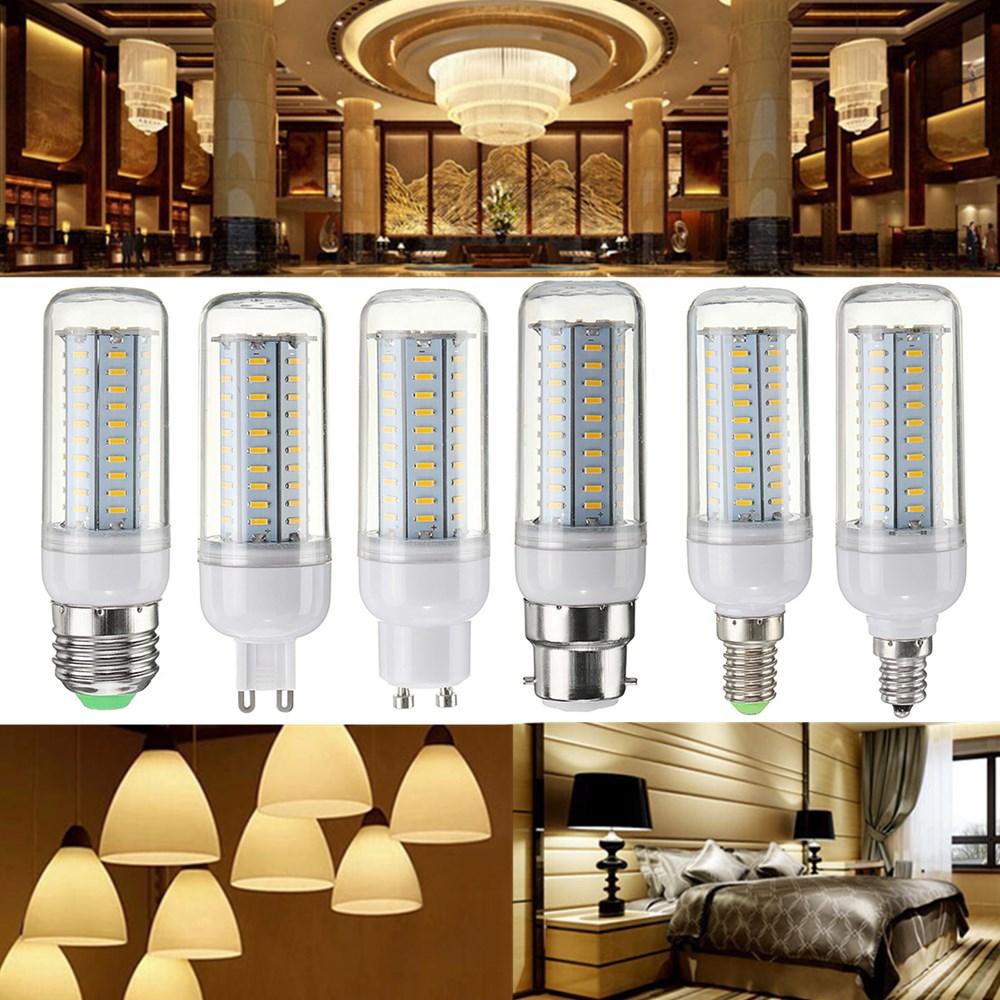 6W Dimmable E27 E14 E12 G9 GU10 B22 SMD4014 LED Corn Bulb Chandelier Light AC110V