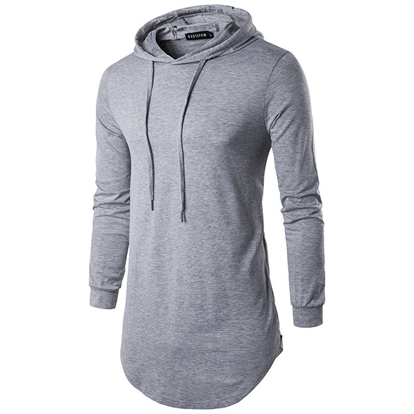 Fashion Personality High Street Hooded T-shirt Men's Casual Pure Color Long Sleeve Hoodies T-shirt