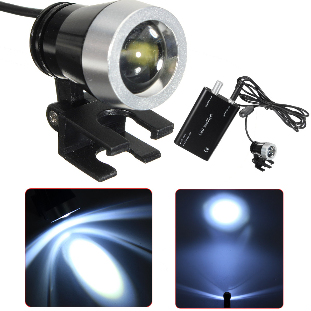 LED Head Light Lamp 3W for Dental Black Surgical Medical Binocular Loupe