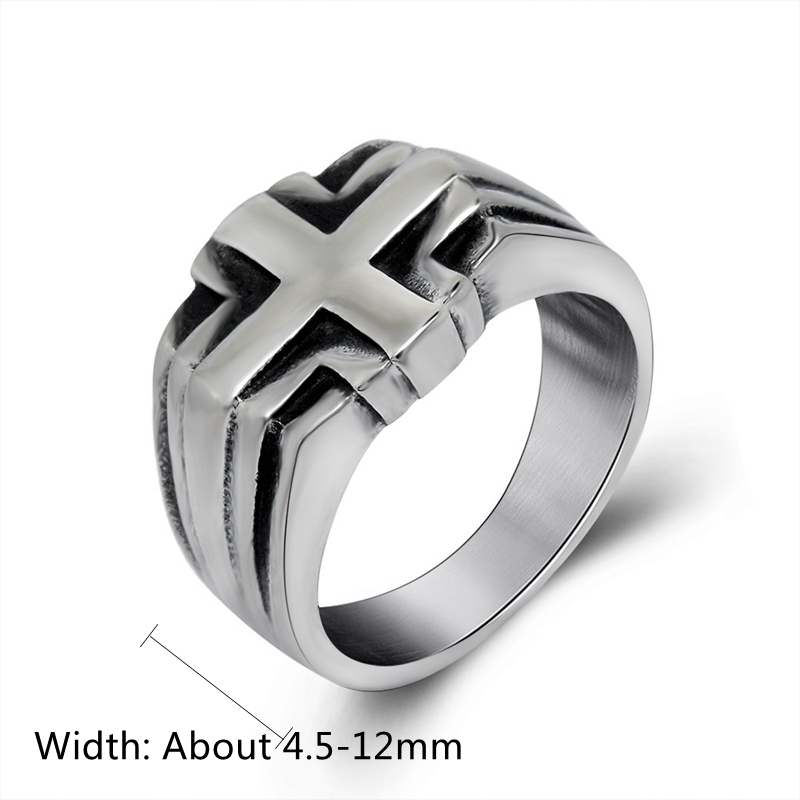 Fashion Vintage Punk Cross Male Titanium Steel Ring