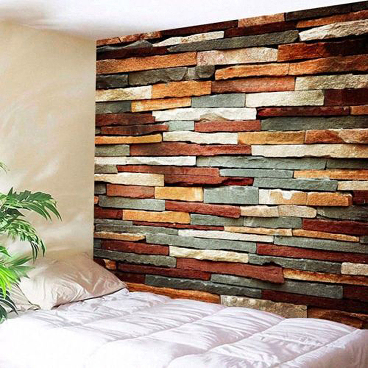 3D Art Decorations Brick Stone Print Pattern Bedspread Wall Hanging Tapestry Home Room Decor