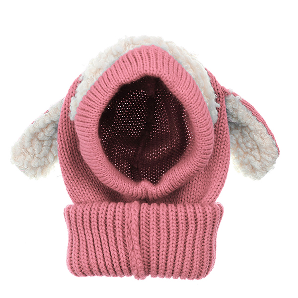 Children Kids Dog Ear Warm Beanie Crochet Hat Knitted Wool Hooded Scarf