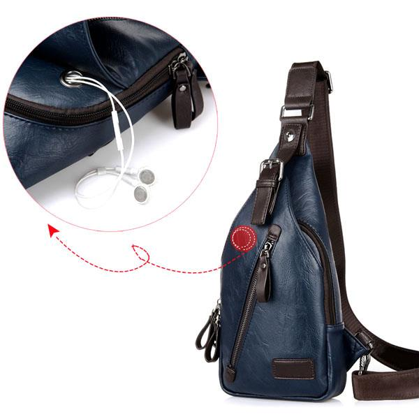 Men PU Crossbody Bag Capacity Leisure Shoulder Bag