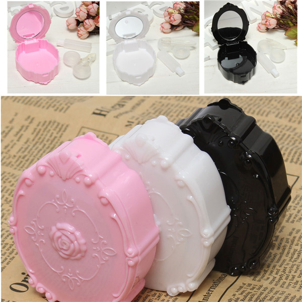 Mini Contact Lens Box Cute Travel Kit Mirror Container Holder Lenses