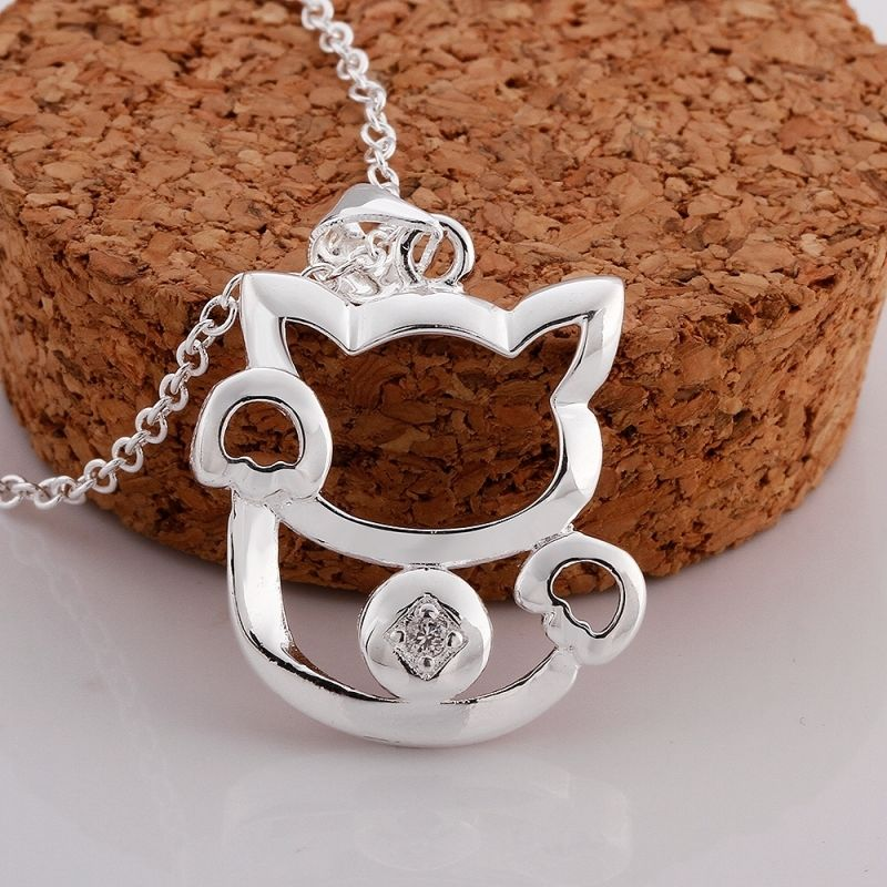 Silver Plated Cute Crystal Fortune Cat Pendant Necklace For Women