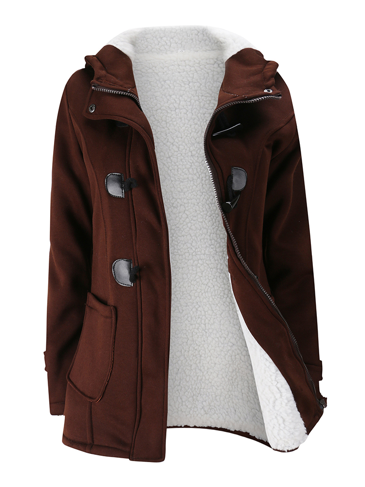 Women Hooded Coat Horn Button