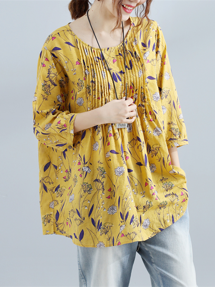 Gracila Women Floral Print O-neck Three Quarter Sleeve Blouse