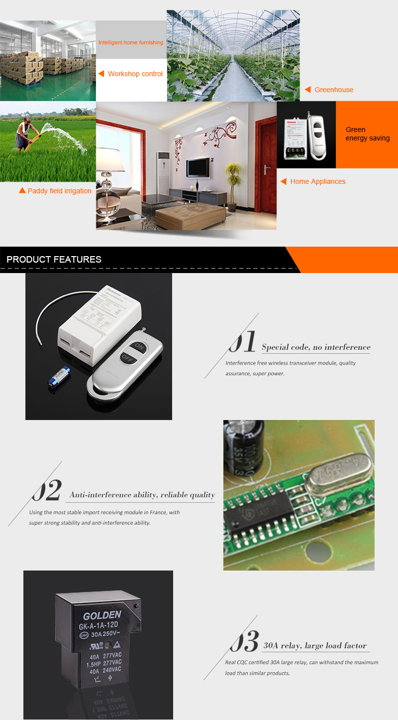 YL-A1T 200M 220V Long Distance One Way Remote Control Power Switch 3000W High Power Wireless Switch with Remote Control