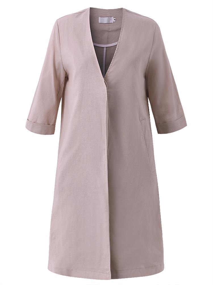 Casual Women Solid 3/4 Sleeve Pocket Loose Cardigan