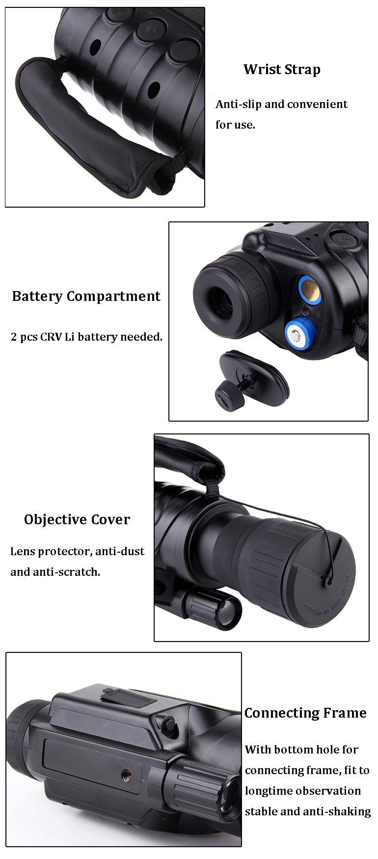 IPRee 6x50 Outdoor Digital Night Vision Telescope Infrared Ray HD Clear Vision Monocular Device Optic Lens Eyepiece Photography Recording With Video Output For Camping Hiking Travel Hunting