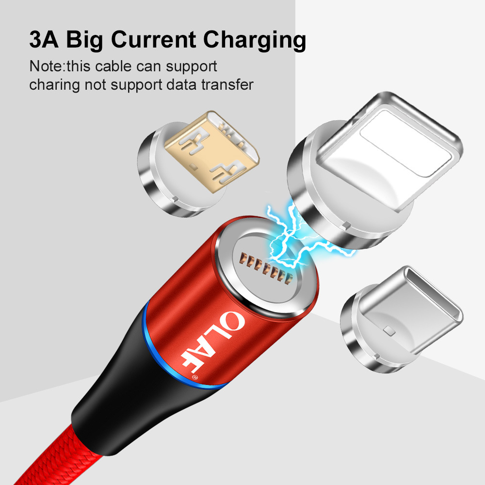 OLAF 3A Micro USB Type-C Magnetic Nylon Braided Fast Charging Data Cable For Xiaomi Mi8 Mi9 HUAWEI P30 Pocophone F1 S9 S10 Note S10+