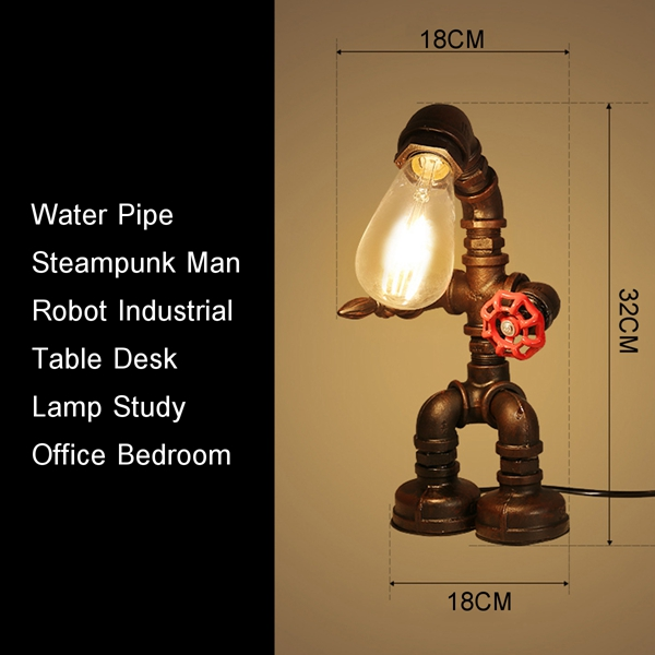 Industrial Water Pipe E27 Table Light Desk Lamp Study Office Bedroom