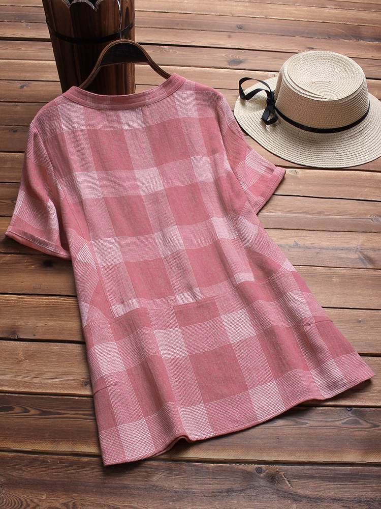 Vintage Plaid V-neck Short Sleeve Loose Shirts