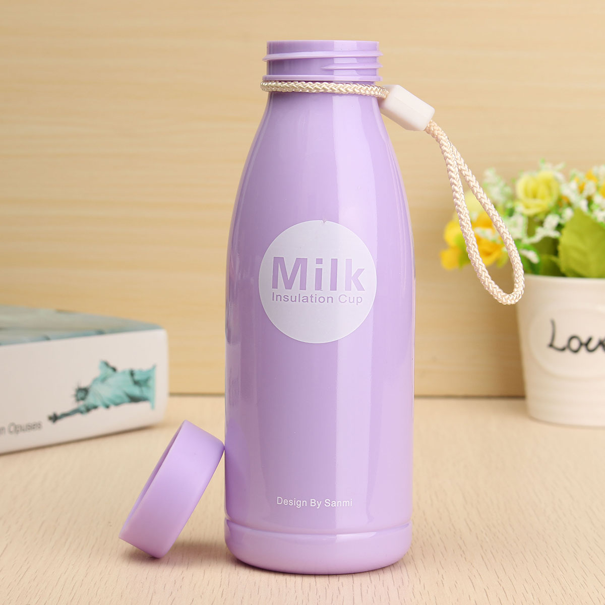 400ml Solid Color Milk Cup Creative Portable Leak-proof Plastic Cups Water Bottle