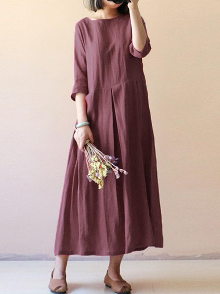 Womens Vintage Half Sleeve Pleated Solid Long Dress