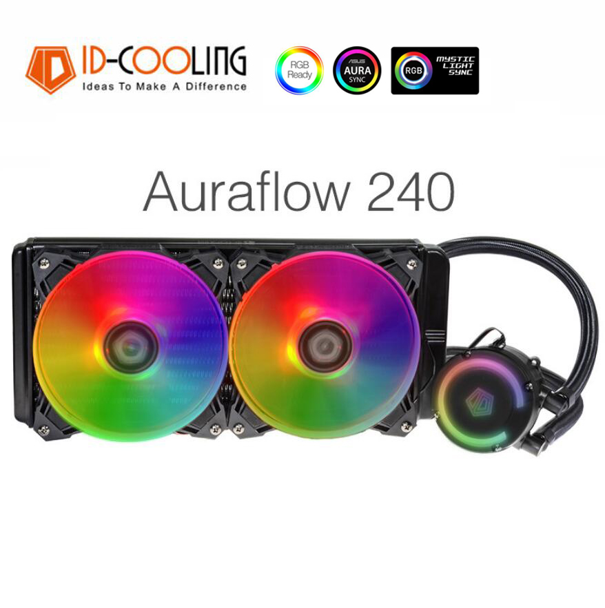 ID-COOLING Auraflow 240 RGB PMW Water Cooling Fan Water Cooler for Intel AMD AM4