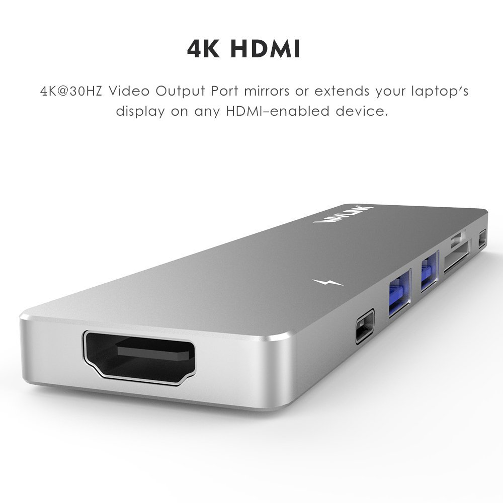 Wavlink WS-UHP3405M Dual Thunderbolt 3 to USB HDMI Card Reader PD Charging Mini Dock for Macbook Pro