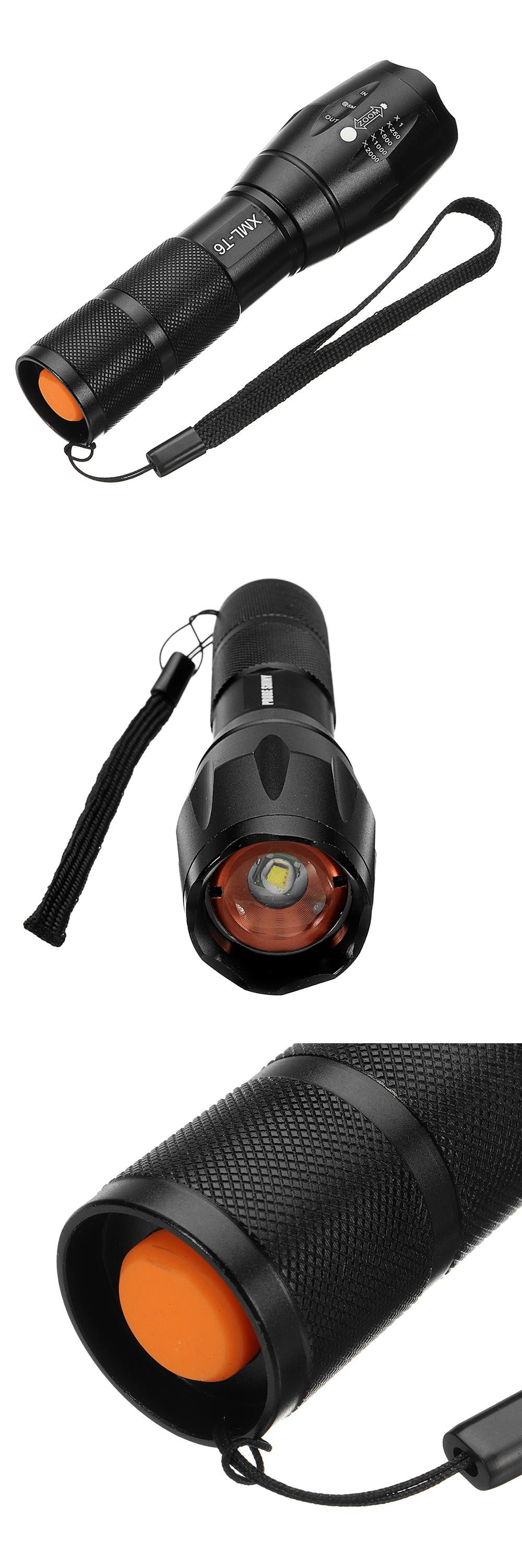 XANES A100 T6 800Lumens 5Modes Brightness Zoomable Tactical LED Flashlight Suit + Charger + Battery Charger