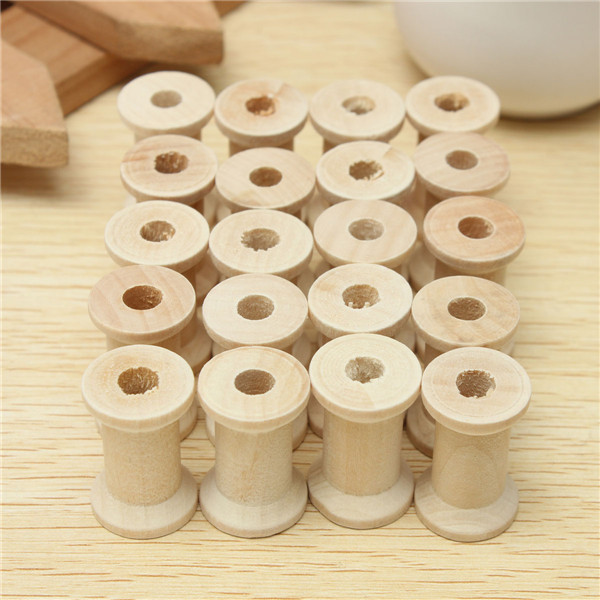 20Pcs Vintage Wooden Sewing Machine Bobbins Spools Reels