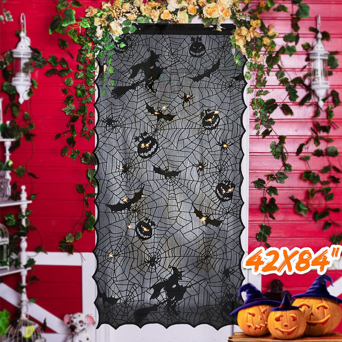 Rèm Cửa Vải Trang Trí Halloween Led Light Up Black Lace Window